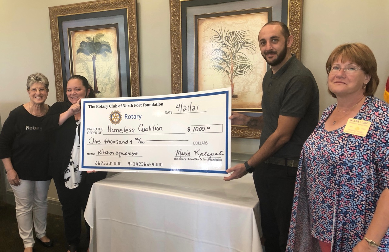 Rotary helping the Homeless Coalition to buy kitchen equipment.